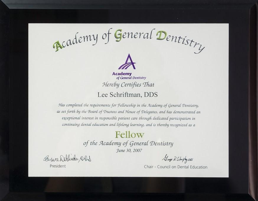 Certificate for general dentistry for Dr. Schriftman